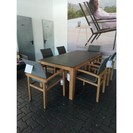 """Stern """"Leah"""" Gartenmöbel-Set, Gestelle Teakholz, Sitzfläche Rope steingrau, Tischplatte Dekton Lava anthrazit, Ausstellung Karlsruhe"""
