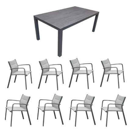 """Home Islands Gartenmöbel-Set mit Tisch """"Dayann"""" und Stapelsessel """"Luis"""", Gestell Alu charcoal (anthrazit), Sitz gepolstert silver black, Tischplatte HPL dark grey"""