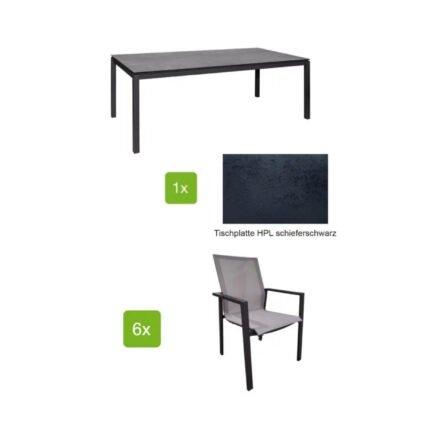 """Jati&Kebon Gartenmöbel-Set mit Stuhl """"Beja XL"""" und Tisch 220x100 cm """"Lugo"""", Alu eisengrau, Tischplatte HPL schieferschwarz"""