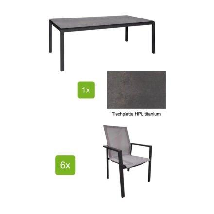 """Jati&Kebon Gartenmöbel-Set mit Stuhl """"Beja XL"""" und Tisch 220x100 cm """"Lugo"""", Alu eisengrau, Tischplatte HPL titanium"""