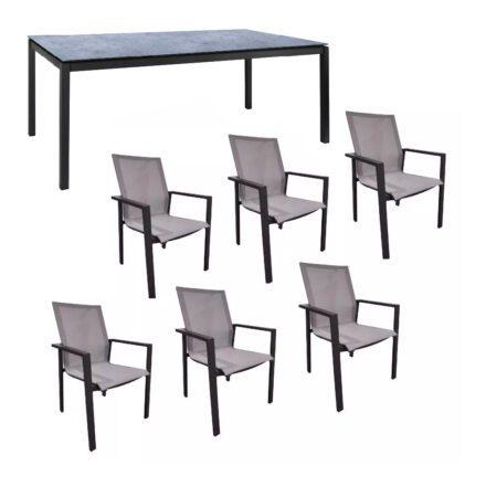 """Jati&Kebon Gartenmöbel-Set mit Stuhl """"Beja XL"""" und Tisch 220x100 cm """"Lugo"""", Alu eisengrau, Tischplatte HPL zementgrau"""