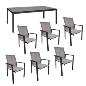 """Jati&Kebon Gartenmöbel-Set mit Stuhl """"Beja XL"""" und Tisch 220x100 cm """"Lugo"""", Alu eisengrau, Tischplatte HPL"""
