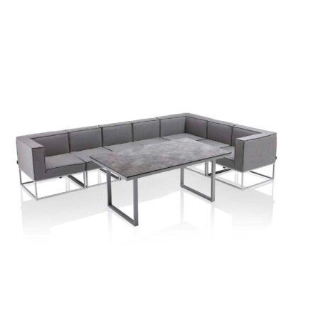 """Kettler """"Modena/Skate"""" Casual Dining Gruppe, Gestell Aluminium silber, Polster Sunbrella® flanelle (hellgrau meliert), Tischplatte HPL anthrazit"""