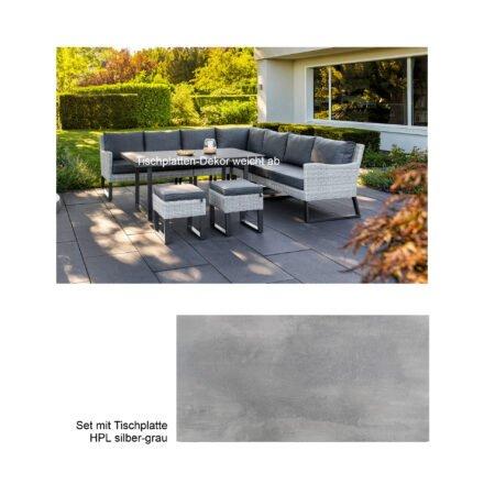 "Kettler ""Palma Wing/Skate"" Casual Dining Set 8-tlg., Gestelle Aluminium anthrazit, Geflecht Polyrattan white-wash, Polster Olefin anthrazit, Tischplatte HPL silber-grau"