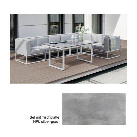 """Kettler """"Modena/Skate"""" Casual Dining Gruppe, Gestell Aluminium silber, Polster Sunbrella® flanelle (hellgrau meliert), Tischplatte HPL silber-grau"""