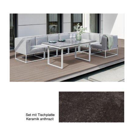 """Kettler """"Modena/Skate"""" Casual Dining Gruppe, Gestell Aluminium silber, Polster Sunbrella® flanelle (hellgrau meliert), Tischplatte Keramik anthrazit"""