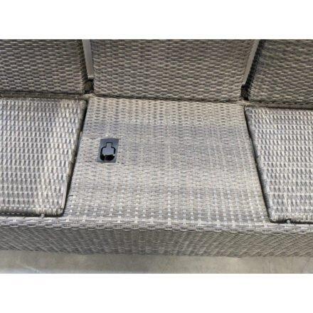 "Ploß ""Rocking Comfort"" 3-Sitzer Loungesofa, Gestell Aluminium, Geflecht Polyrattan grau-braun meliert, Detail Verstellmechanismus"