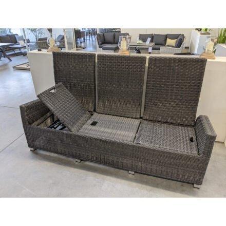 "Ploß ""Rocking Comfort"" 3-Sitzer Loungesofa, Gestell Aluminium, Geflecht Polyrattan grau-braun meliert, Sitzfläche verstellt"