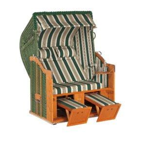 """Sonnenpartner """"Classic"""" Strandkorb, 2-Sitzer, PVC-Geflecht grün mit beigen Nadelstreifen, Markisenstoff Dessin 14"""
