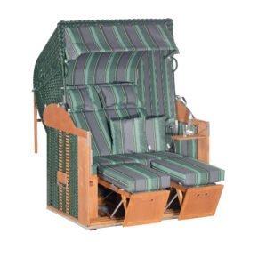 """Sonnenpartner """"Classic"""" Strandkorb, 2-Sitzer, Geflecht grün, Markisenstoff Dessin 188"""