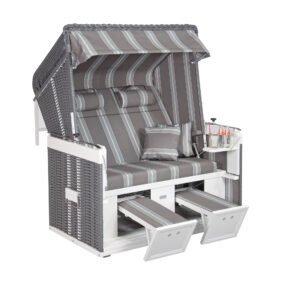 "Sonnenpartner 2-Sitzer-XL Strandkorb ""Präsidend Alu"", Aluminium weiß, Geflecht onix, Stoff-Dessin 96"
