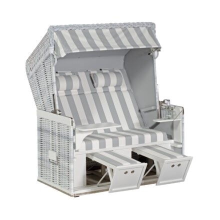 "Sonnenpartner Strandkorb ""Konsul"", XL-2-Sitzer, Polyrattan white-washed, PVC-Stoff Nr. 210 und uni-hellgrau (870)"