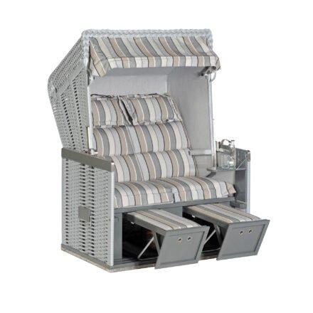 "Sonnenpartner Strandkorb ""Konsul"", 2-Sitzer, Polyrattan silber, Gartenmöbelstoff Tessera grau mit Markisenstoff uni hellgrau"