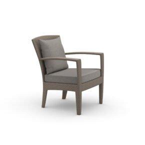 """DEDON Loungesessel """"PANAMA"""", Aluminiumgestell, DEDON Faser taupe light, Sitz- und Rückenkissen LINEN warm gray"""
