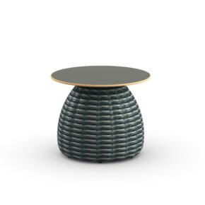 "DEDON Beistelltisch Ø 51 cm ""PORCINI"", Aluminiumgestell mit DEDON Faser bosco, Tischplatte Monolite Ipergres® nori"