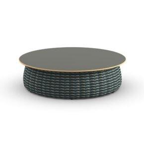 "DEDON Kaffeetisch Ø 100 cm ""PORCINI"", Aluminiumgestell mit DEDON Faser bosco, Tischplatte Monolite Ipergres® nori"