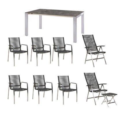 "Diamond Garden Gartenmöbel-Set ""Atlanta/Palermo"", Edelstahl, Rope Grau, Tischplatte HPL Beton dunkel"