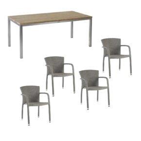 """Diamond Garden Gartenmöbel-Set mit Geflechtstuhl """"Kingston"""" und Tisch """"Barletta"""" 150x90 cm"""