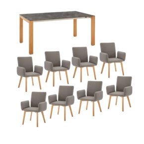 """Diamond Garden Gartentisch """"Palermo"""", Tischbeine Teakholz, Tischplatte HPL Beton dunkel und Gartenstuhl """"Arona"""" Teakholz"""