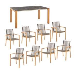 """Diamond Garden Gartentisch """"Palermo"""", Tischbeine Teakholz, Tischplatte HPL Beton dunkel und Gartenstuhl """"Atlanta"""" Teakholz"""