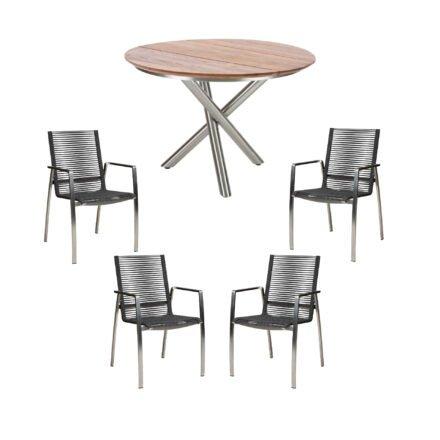"""Diamond Garden Stapelstuhl """"Atlanta"""", Rope grau, mit Tisch """"San Marino"""" 120cm, Edelstahl, Tischplatte Teak"""