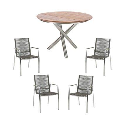 "Diamond Garden Stapelstuhl ""Atlanta"", Rope mocca, mit Tisch ""San Marino"" 120cm, Edelstahl, Tischplatte Teak"