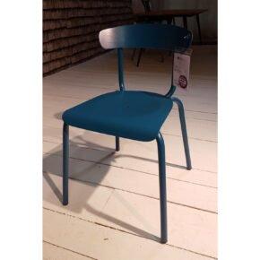 "Conmoto ""Alu Mito"" Stapelstuhl, Gestell und Sitzfläche Aluminium azurblau, Ausstellung Lauchringen"