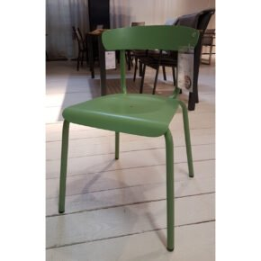 "Conmoto ""Alu Mito"" Stapelstuhl, Gestell und Sitzfläche Aluminium blassgrün, Ausstellung Lauchringen"