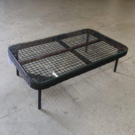 """Home Islands """"Mekong"""" Loungetisch, Gestell Aluminium schwarz matt, Rope hellgrau, Tischplatte Glas, Ausstellung Karlsruhe"""