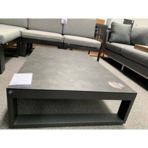 "Jati&Kebon ""Virginia"" Loungetisch, Gestell Aluminium eisengrau, Tischplatte HPL nero granite, Retoure Ausstellung Stockach"
