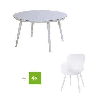 """Hartman Gartenmöbel-Set mit Stuhl """"Sophie Studio Organic"""" und Tisch """"Studio 128"""", Aluminium Farbe Royal White"""