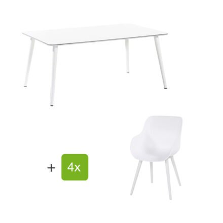 """Hartman Gartenmöbel-Set mit Stuhl """"Sophie Studio Organic"""" und Tisch """"Studio 170"""", Aluminium Farbe Royal White"""