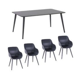 "Hartman Gartenmöbel-Set mit Stuhl ""Sophie Studio Organic"" und Tisch ""Studio 170"", Aluminium Farbe Xerix"
