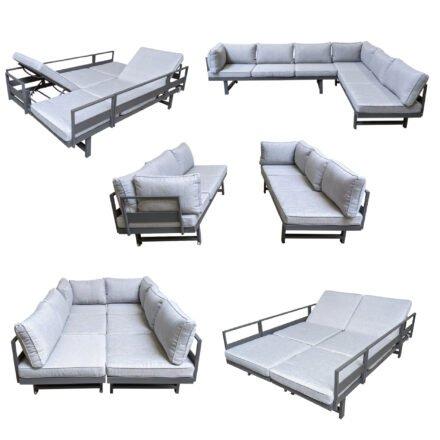 "Home Islands ""New Chalong"" Loungesofa, Stellvarianten mit zwei Sofas, Aluminium anthrazit/Polster hellgrau"