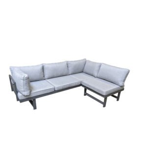 "Home Islands ""New Chalong"" Loungeset mit Sofa inkl. extra Armlehne & Sessel, Gestell Aluminium anthrazit, Polster hellgrau"