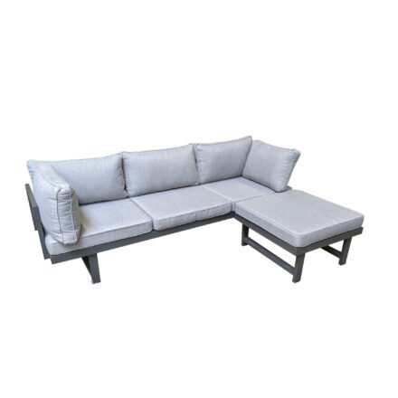 "Home Islands ""New Chalong"" Loungeset mit Sofa inkl. extra Armlehne & Hocker, Gestell Aluminium anthrazit, Polster hellgrau"