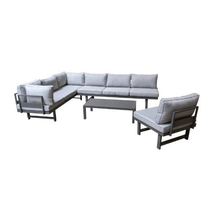 "Home Islands ""New Chalong"" Loungeset mit 2x Sofa, Sessel & Tisch, Gestelle Aluminium anthrazit, Polster hellgrau"