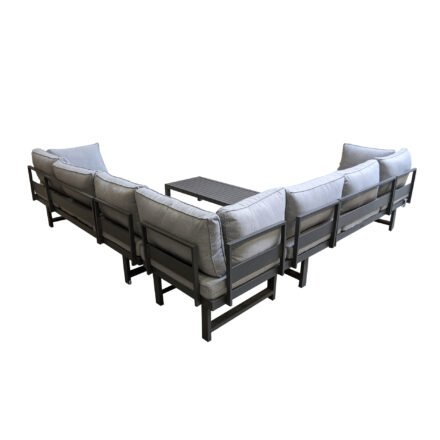 """Home Islands """"New Chalong"""" große Ecklounge mit Loungetisch, Gestelle Aluminium anthrazit, Polster hellgrau"""
