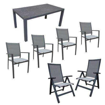 """Home Islands Gartenmöbel-Set mit """"Borneo"""" Tisch Alu/Glaskeramik dark grey, """"Yuri"""" Stapelsessel und Klappsessel, Alu charcoal (anthrazit), Textilgewebe silver black, Armlehnen Alu"""