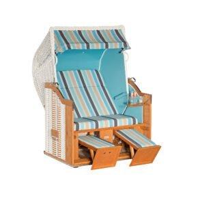 """Sonnenpartner """"Classic"""" Strandkorb, 2-Sitzer, Kunststoffgeflecht weiß, Gartenmöbelstoff Ocean, Markisenstoff uni türkis"""