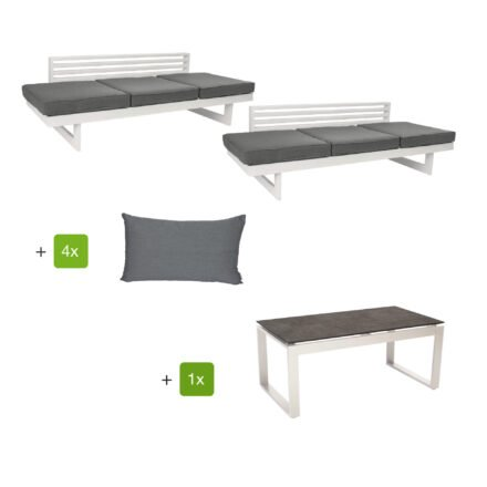 """Stern Loungeset mit Liege """"New Holly"""" inkl. Sitz- und Rückenkissen seidengrau und Beistelltisch """"Allround"""", Alu weiß, HPL Metallic grau"""