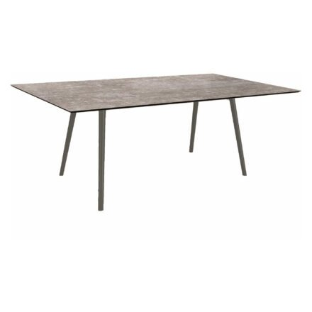 """Stern Tisch """"Interno"""", Größe 180x100cm, Alu anthrazit, Rundrohr, Tischplatte HPL Metallic Grau"""