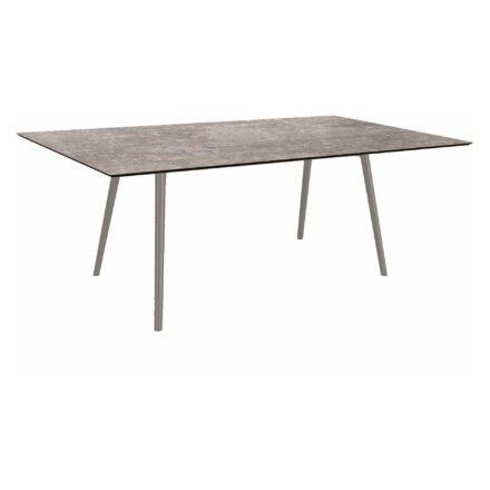 """Stern Tisch """"Interno"""", Größe 180x100cm, Alu graphit, Rundrohr, Tischplatte HPL Metallic Grau"""