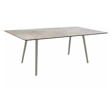 """Stern Tisch """"Interno"""", Größe 180x100cm, Alu graphit, Rundrohr, Tischplatte HPL Vintage Stone"""