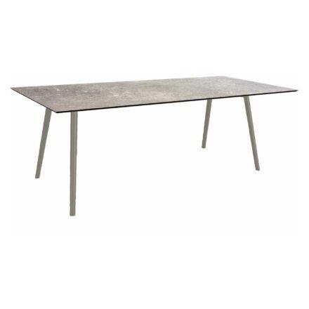 """Stern Tisch """"Interno"""", Größe 220x100cm, Alu graphit, Rundrohr, Tischplatte HPL Vintage Stone"""