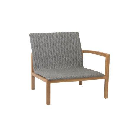"""Stern """"Leah"""" Lounge-Seitenelement mit Armlehne links, Gestell Teakholz, Sitz- und Rückenfläche Rope steingrau"""