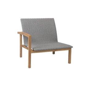"""Stern """"Leah"""" Lounge-Seitenelement mit Armlehne rechts, Gestell Teakholz, Sitz- und Rückenfläche Rope steingrau"""