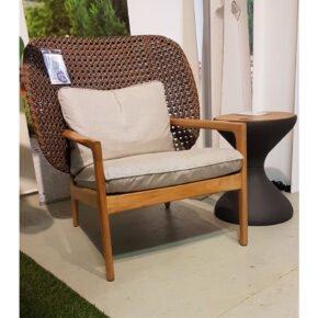 "Gloster ""Kay"" High Back Lounge Chair, Gestell Teakholz, Polyrattan brindle, Kissenset Sunbrella, Ausstellung Lauchringen"