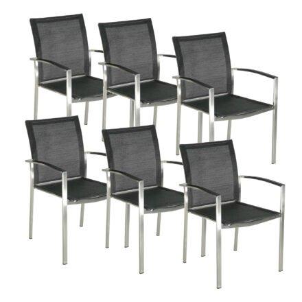 """SIT Mobilia """"Brazil"""" Stapelstuhl, Gestell Edelstahl, Sitzfläche Batyline Eden schwarz, Armlehne Kunststoffeinlage schwarz"""