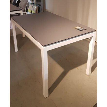 Stern Gartentisch, Gestell Aluminium weiß, Tischplatte HPL Uni grau, Ausstellung Lauchringen